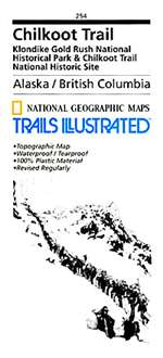 Chilkoot Trail Elevation Map.Chilkoot Trail And Klondike Gold Rush Alaska Map 254 By National